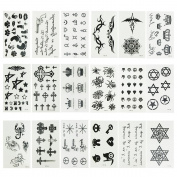 Micropromo® NEW 18 Sheets Cute Black Removable Waterproof Temporary Tattoos Body Art Sticker for Kids Men Women Adults Girls