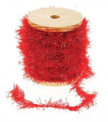 Red Frayed Ribbon with Glitter on Wooden Spool