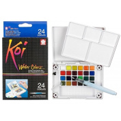 (Ship from USA) Sakura XNCW-24N 24-Piece Koi Assorted Water Colours Field Sketch Set with Brush