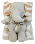 Stephan Baby Super-soft Coral Fleece Crib Blanket and Plush Toy Gift Set, Ellie The Elephant