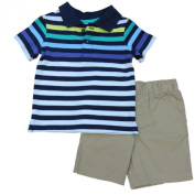 First Impressions Infant Boys Blue Striped Polo T-Shirt & Khaki Shorts 3-6m
