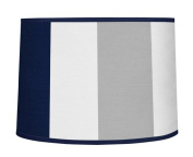 Navy Blue and Grey Stripe Lamp Shade by Sweet Jojo Designs