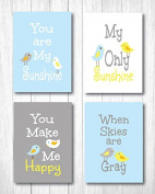"""Set of Four 20cm X 25cm Art Prints """"You Are My Sunshine"""" in Baby Blue"""