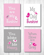 """Set of Four 13cm X 18cm Art Prints """"You Are My Sunshine"""" in Baby Pink"""