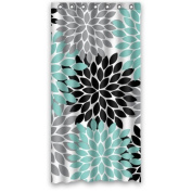 Hipster Black Grey Green Dahlia floral Pattern Shower Curtain Polyester Waterproof 90cm x 180cm