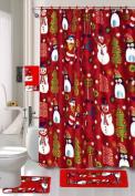 Season's Greetings 18 Piece Embroidery Bath Set 1 Bath Mat , 1 Contour Mat , 1 Shower Curtain , 12 Matching Fabric Shower Rings , 3 Piece Matching Towel Seat Small to Large