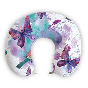 EnjoyIt Purple Butterflies U-Shape Neck Pillow with Perfect Design Cloth with Soft Nap Surface and High Quality Memory Foam Insert