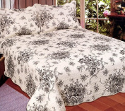 American Hometex French Country Quilt Set, Queen, Black