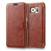 Galaxy S6 Edge Case Wallet,Mulbess [Layered Dandy][Vintage Series][Coffee Brown] - [Ultra Slim][Wallet Case] - Leather Flip Cover With Credit Card Slot for Samsung Galaxy S6 Edge SM-925