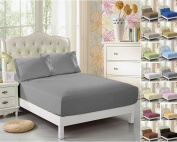 CC & DD-Fitted Sheet, Luxury Super Silky Soft/Comfortable, 100% Brushed Microfiber,Full Elastic, Deep Pockets Dark-grey Queen