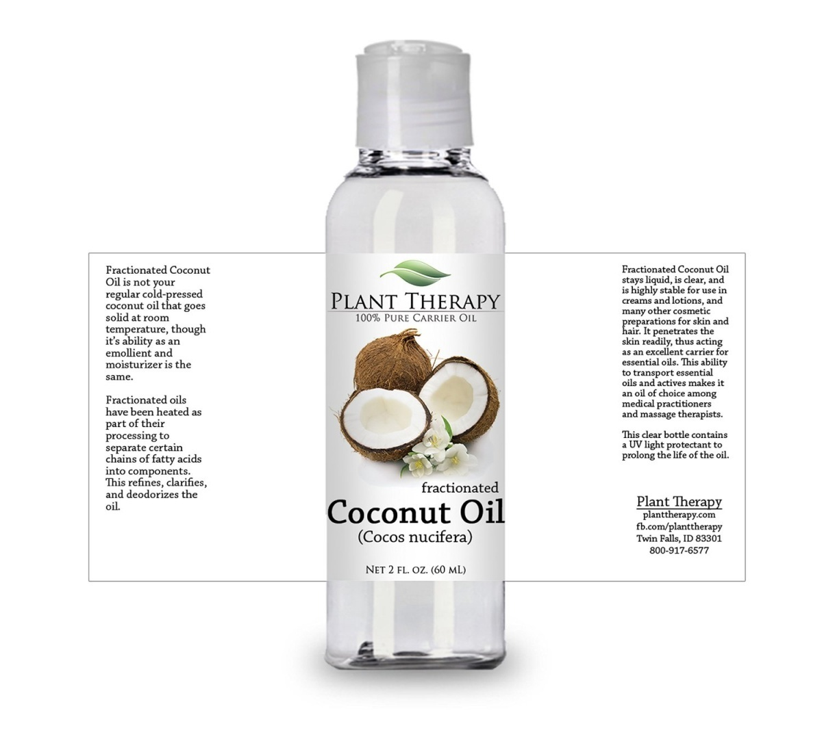 Plant Therapy Coconut (Fractionated) Carrier Oil  A Base Oil for  Aromatherapy, Essential Oil or Massage use  60ml