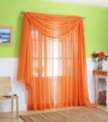 1 X Orange Elegance Sheer Scarf Valance 550cm Long