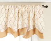Stylemaster Bleecker 140cm by 43cm Lined Embroidered Layered Valance, Truffle