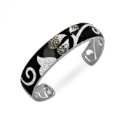 Crystaluxe Black Enamel Cuff Bracelet with. Crystals in Sterling Silver