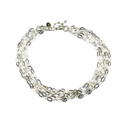 Multi-Strand Flat Oval Sterling Silver Chain Toggle Bracelet Italy 19cm