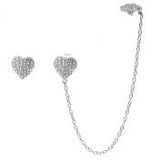Sterling Silver CZ Heart Single Stud and Ear Cuff Earrings