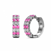 Pink Sapphire and Diamond (SI2-I1, G-H) Double Row Hoop Earrings 1.15 ct tw in 14K White Gold