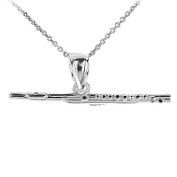 925 Sterling Silver Music Charm Flute Pendant Necklace