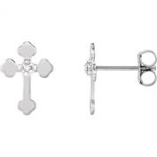 14K White Gold 0.01 CTW Diamond Cross Earrings
