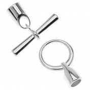 Silver Plated Large Glue-In Toggle Clasp - Fits 6.2mm Cord