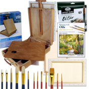 Oil Painting Art Set Complete Artist Quality Hard Wood Table Easel with Paint Supplies & More