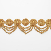 5.1cm Metallic Gold Lace Trim for Bridal, Costume or Jewellery, Crafts and Sewing by 1 Yard, LP-MX-2304