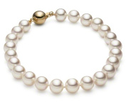 HinsonGayle AAA GEM Collection White Round Freshwater Cultured Pearl Bracelet 14K Gold