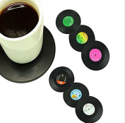 Tmalltide 6 pcs Round anti-heat Retro Vinyl Record Coaster Set Cup Coaster