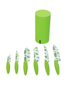 Gela Global 7-Piece Non-Stick Coated Knives Set In Round Block, Green Apple