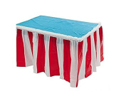 Red & White Striped Table Skirt Carnival Circus Decorations