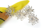 Manor Luxe Snowflake Holiday Elegant Jewelled Metal Napkin Rings (Set of 4), Silver