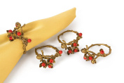Manor Luxe Holly Berry Holiday Painted Brass Metal with Resin Berry Napkin Rings
