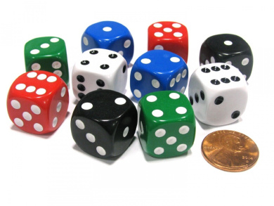 Set of 10 D6 Rounded Opaque 16mm D6 Dice - 2 Each of Red White Blue Green Black