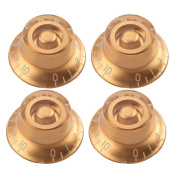 4pcs Glod+white Top Hat Speed Control Knobs for Electric Guitar Parts Replacement
