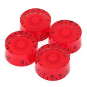 4pcs Speed Control Knobs (Red) for Electric Guitar Parts Replacement