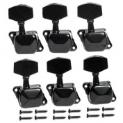 1set of 6r Black Semiclosed Guitar Tuning Pegs Tuners Machine Heads