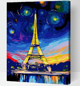 Drawing your painting, paint by number Colourful Eiffel Tower 41cm X 50cm inches Frameless.