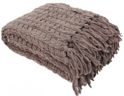 J & M Home Fashions Luxury Chenille Throw with Tassels, 130cm by 150cm , Sable