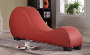 US Pride Furniture Faux Leather Stretch Chaise Relax Yoga Chair/Sex Love Making Chair, Red