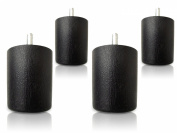 6.4cm HDPE Round Plastic Black Sofa/Couch/Chair Legs - Set of 4