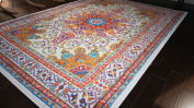 Oriental Traditional Isfahan Persian Light Blue Navy White Orange Yellow Crimson Red Area Rugs Rug 1.5m0.6m x 2.1m3