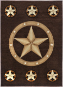 Rugs 4 Less Collection Texas Lone Star State Novelty Area Rug R4L 78 Chocolate / Brown