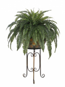 House of Silk Flowers Artificial Fern in Large Tribal Planter Stand