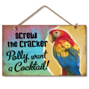 New Distressed Wood Tropical Decor Polly Want Cocktail Sign Beach Coastal Fun Plaque