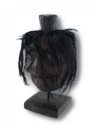 Mounted Shrunken Head with Stitching and Black Hair