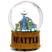 Seattle Snow Globe Musical Glass Dome with Skyline and Space Needle in Seattle Snow Globes Collection