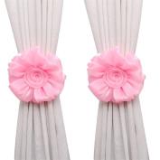 Tonsee 1Pair Rose Flower Window Curtain Tieback Buckle Clamp Hook Fastener Decor