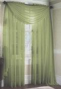 LuxuryDiscounts Beautiful Elegant Solid Sage Green Sheer Scarf Valance Topper 100cm X 550cm Long Window Treatment Scarves