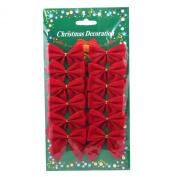 12 Pcs Mini 6cm Christmas Charms Decoration Ornaments Ribbon Bows Red