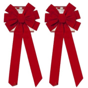 Red Velvet Bow (2 Pack) 70cm Long 25cm Wide 10 Loop Holiday/Christmas Bow